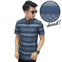Kemeja Pendek Stripe Block Combination Navy