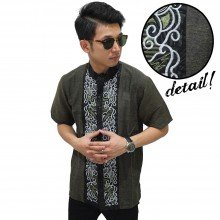 Baju Koko Pendek Abstract Bordir Dark Green
