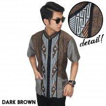 Baju Koko Pendek Modern Bordir Anyaman Dark Brown