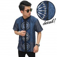 Baju Koko Pendek Three Circle Blue