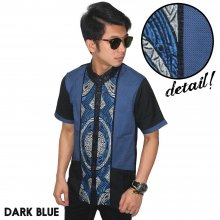 Baju Koko Pendek Modern Two Tone Dark Blue
