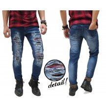 Blue Jeans Ripped Extreme With Flanel Patch