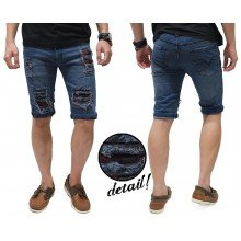 Celana Pendek Jeans Destroyed Ripped With Patch Kakkoii