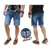 Celana Pendek Jeans Whisker Wash Blue