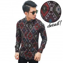 Kemeja Batik Songket Elegant Full Pattern Brown - LIMIT
