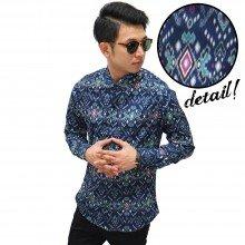 Kemeja Batik Songket Tenun Navy