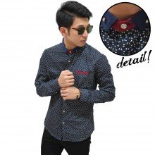 Kemeja Elegant Triangle Pattern Navy