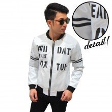 Bomber Jacket Typography Arm Stripe White