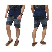 Celana Pendek Denim Blocking Wash Black