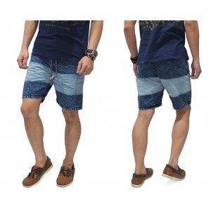 Celana Pendek Denim Blocking Wash Blue
