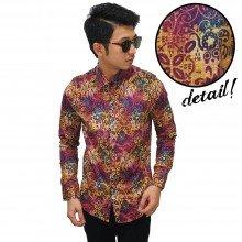 Kemeja Batik Elegant Colourful Magenta