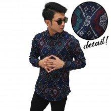 Kemeja Batik Songket Elegant Full Pattern Navy