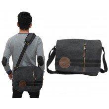 Messenger Bag Canvas Double Stripe Black