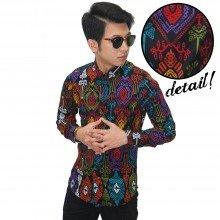 Kemeja Batik Panjang Songket Colourful Black
