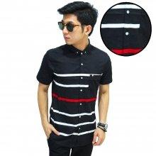 Kemeja Pendek Red Line Stripe Black