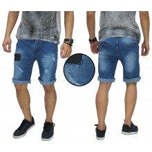 Celana Pendek Jeans Ripped And Repair Blue