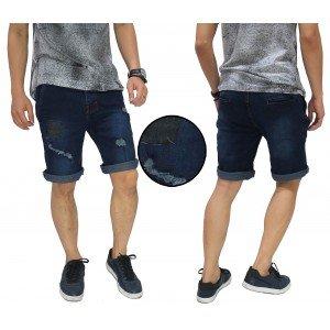 Celana Pendek Jeans Ripped And Repair Dark Indigo