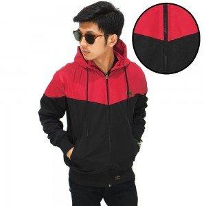 Jaket Parasut Windrunner Red And Black