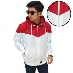 Jaket Parasut Windrunner Red And White