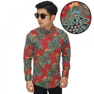 Kemeja Batik Mega Mendung Elegant Red