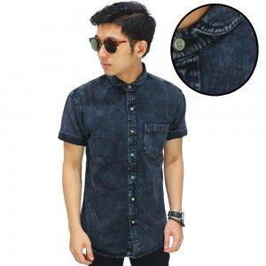 Kemeja Denim Pendek Club Collar Black Washing