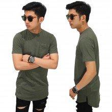 Longline T-Shirt Basic Dark Green