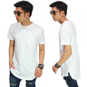 Longline T-Shirt Basic White Size L
