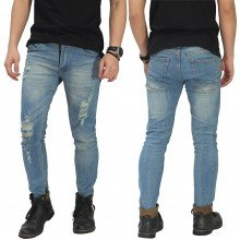Celana Jeans Ripped Vintage Dirty Blue