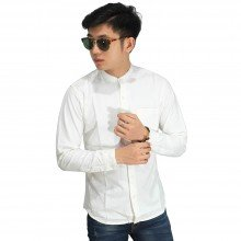 Kemeja Denim Grandad Collar Basic White