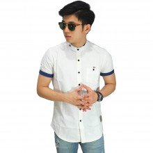 Kemeja Pendek Grandad Collar With List White