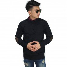 Three Button Knit Sweater Elbow Black