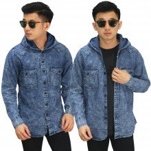 Kemeja Denim Hooded Dark Blue