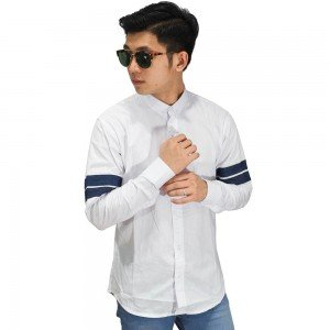 Kemeja Arm Double Stripe White