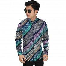 Kemeja Batik Elegant Gradasi Tosca