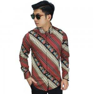 Kemeja Batik Parang Modern Gradasi Maroon