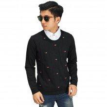 Kemeja Fake With Sweater Black