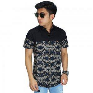 Kemeja Pendek Batik Casual Vector Black
