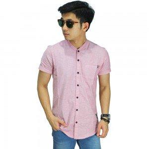 Kemeja Pendek Grandad Collar Soft Pink