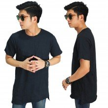 Longline Asymmetric T-Shirt Black