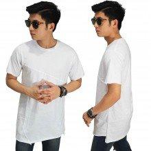 Longline Asymmetric T-Shirt White