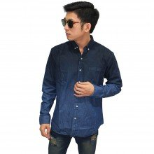 Kemeja Denim Panjang Dark Blue Gradation