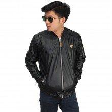 Jaket Bomber Leather Black