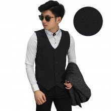 Vest Formal Small Square Emboss Black