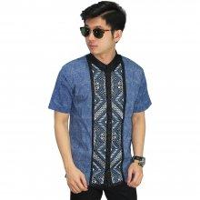 Baju Koko Pendek Bordir Batik Tenun Blue