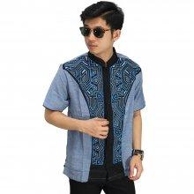 Baju Koko Pendek Bordir Jasko Modern Blue
