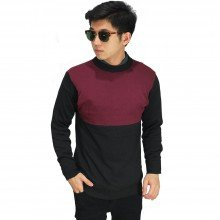 Knit Sweater Two Tone Maroon And Black