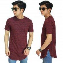 Longline T-Shirt Faded Stripe Maroon