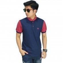 Polo Shirt Grandad Collar Navy Sleeve Peach
