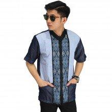 Baju Koko Pendek Bordir Wajik Blue