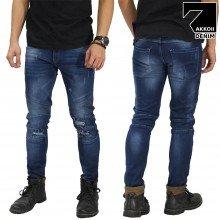 Jeans Biker Ripped Dark Blue
